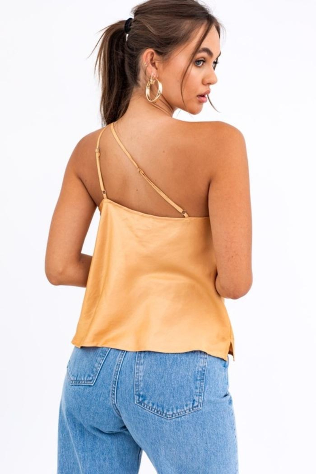 Le Lis Champagne Satin Top - Back Cropped Image