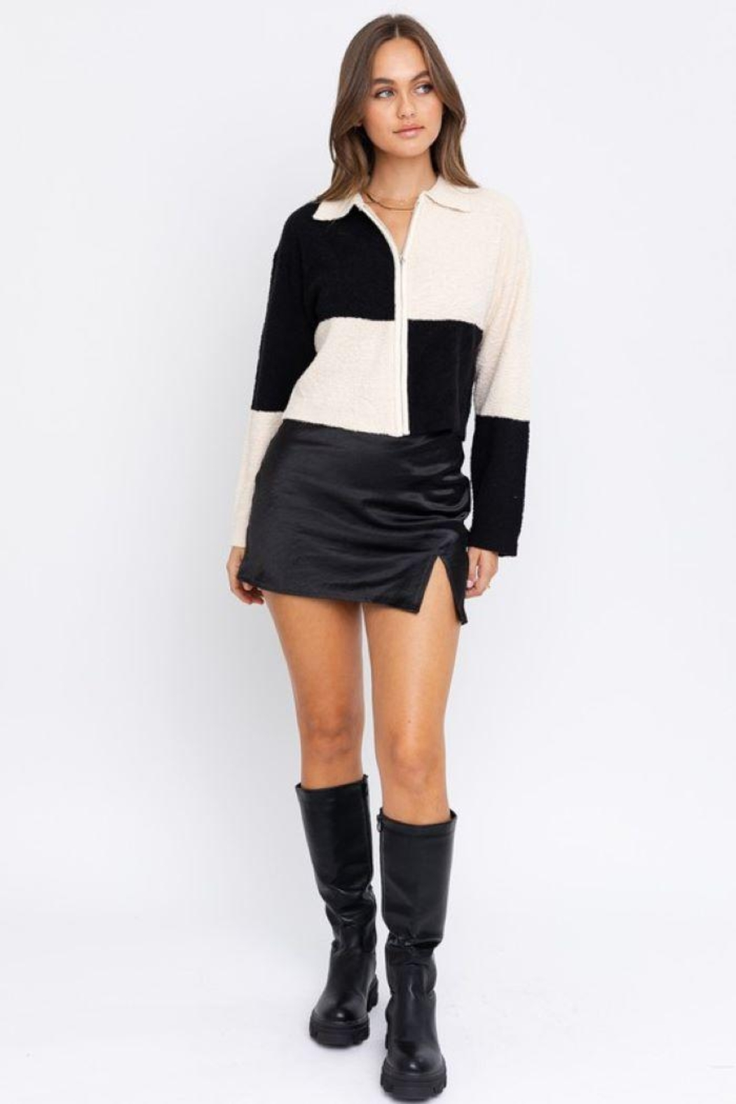 Le Lis Color Block Collared Jacket - Front Full Image