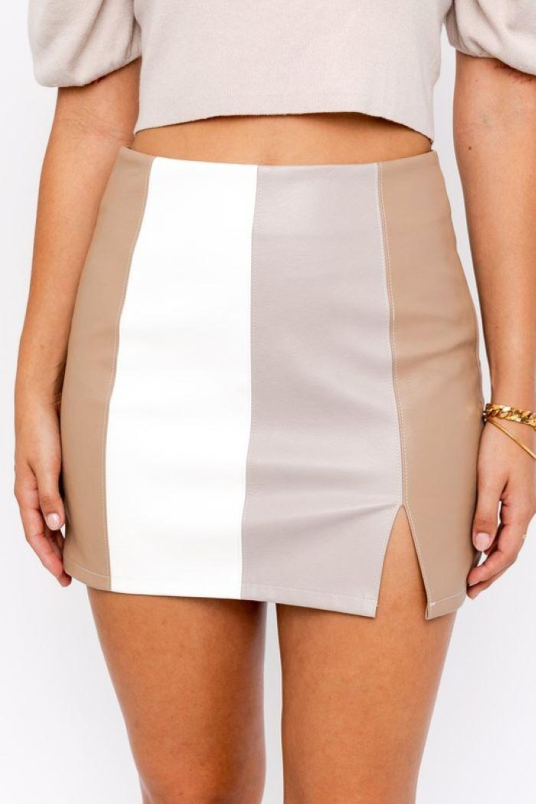 Le Lis Color Block Leather Skirt With Slit - Front Full Image