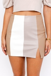 Le Lis Color Block Leather Skirt With Slit - Front full body
