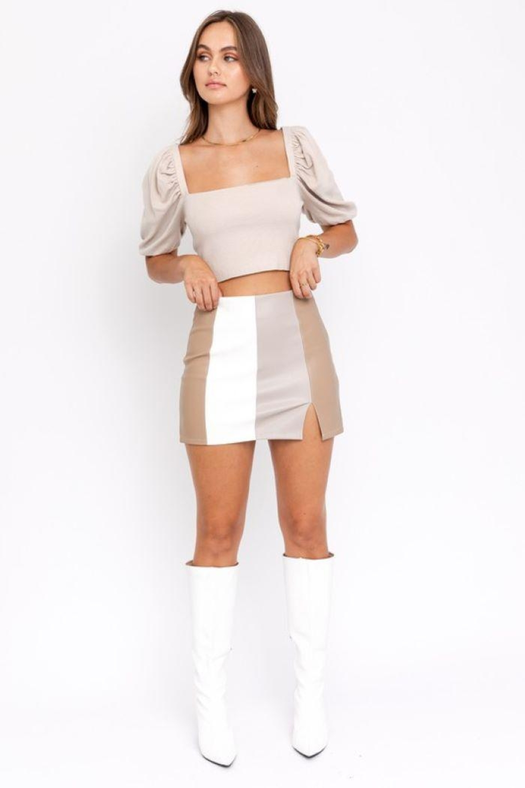 Le Lis Color Block Leather Skirt With Slit - Main Image