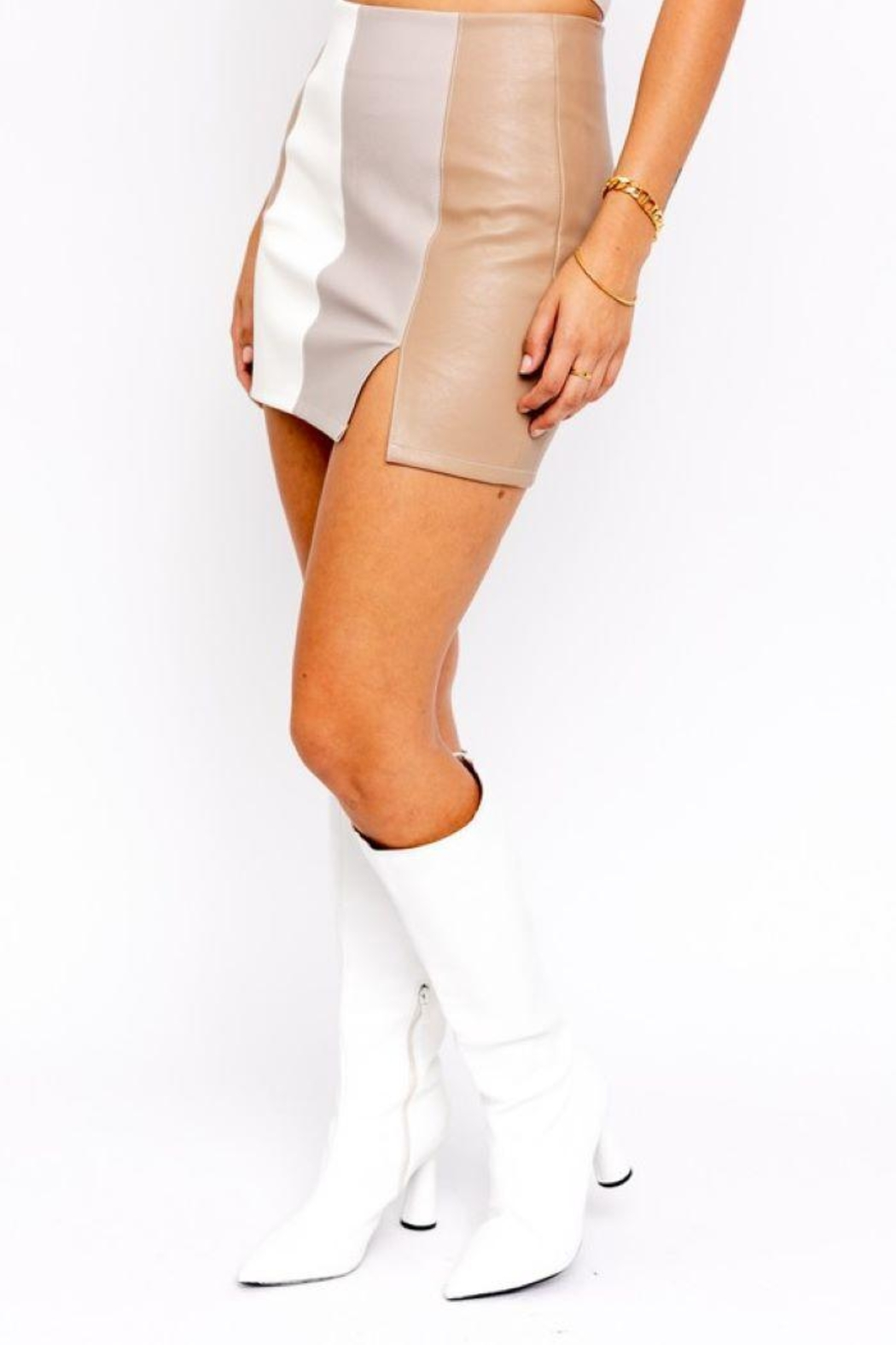 Le Lis Color Block Leather Skirt With Slit - Side Cropped Image