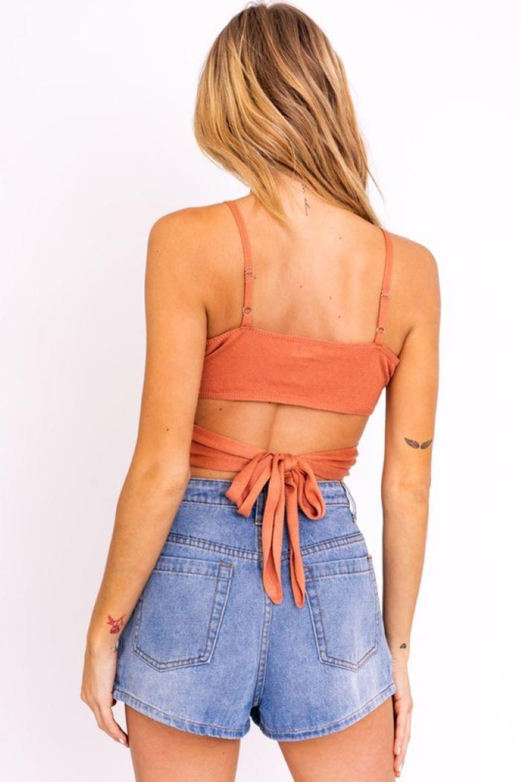 Le Lis Cut Out Sweater Crop Top - Back Cropped Image