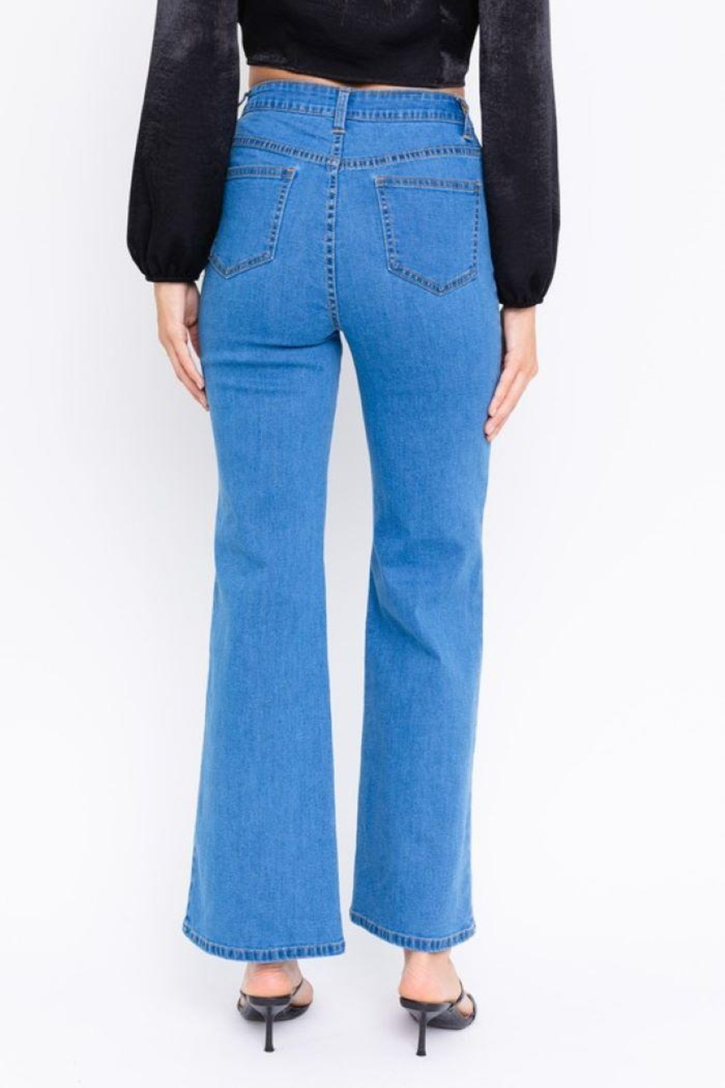 Le Lis Cutout Bell Bottom Jeans - Back Cropped Image