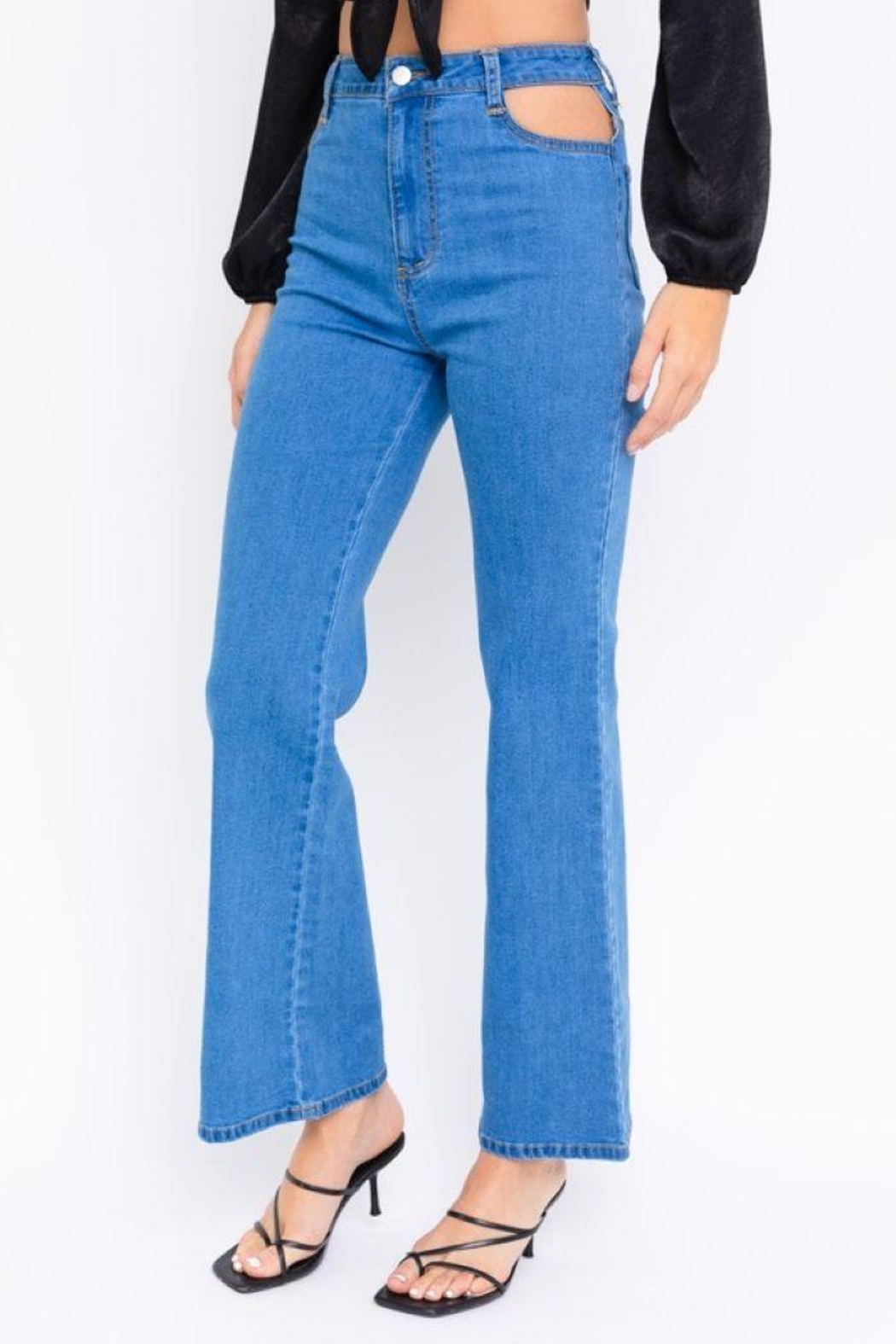 Le Lis Cutout Bell Bottom Jeans - Side Cropped Image