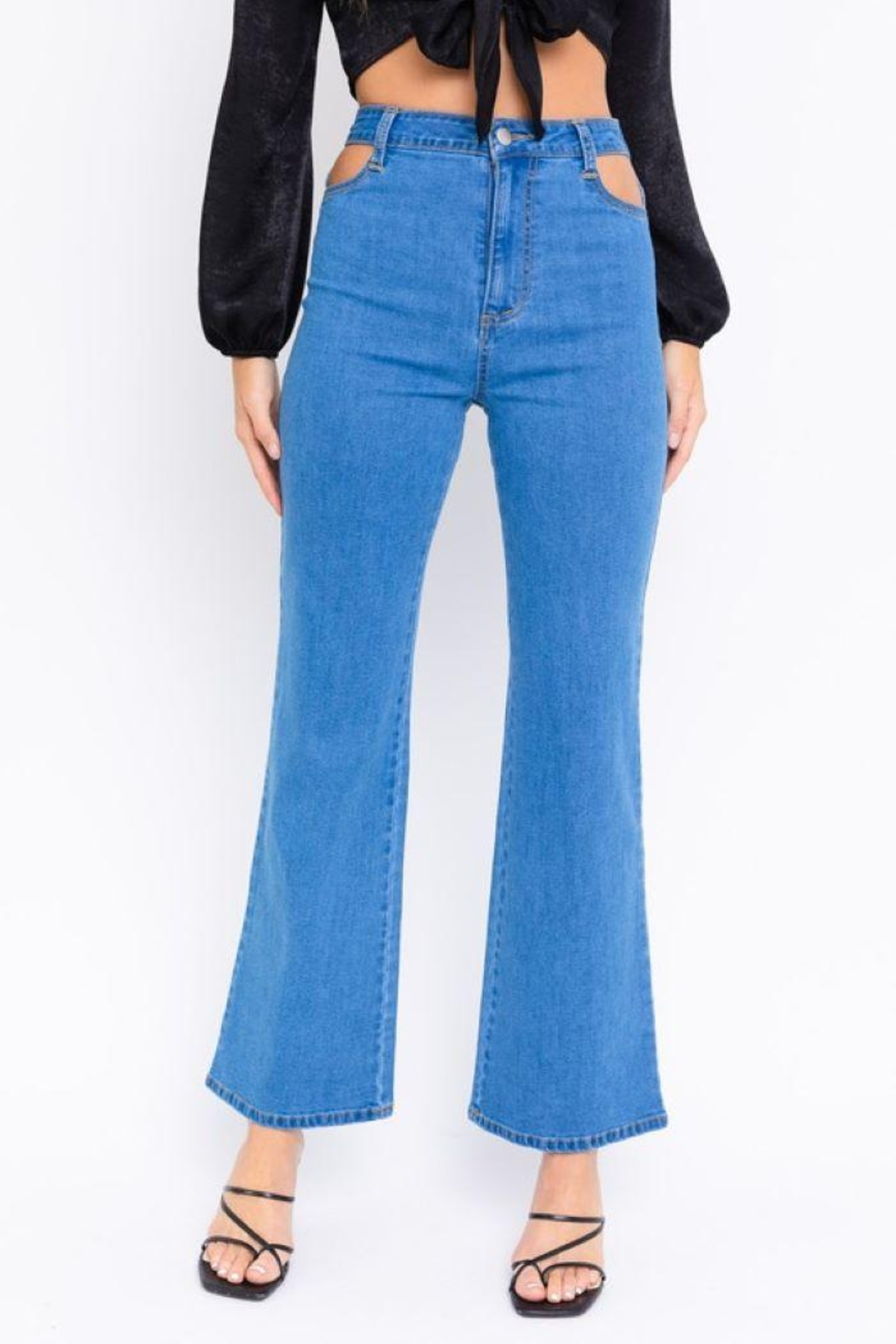 Le Lis Cutout Bell Bottom Jeans - Front Full Image
