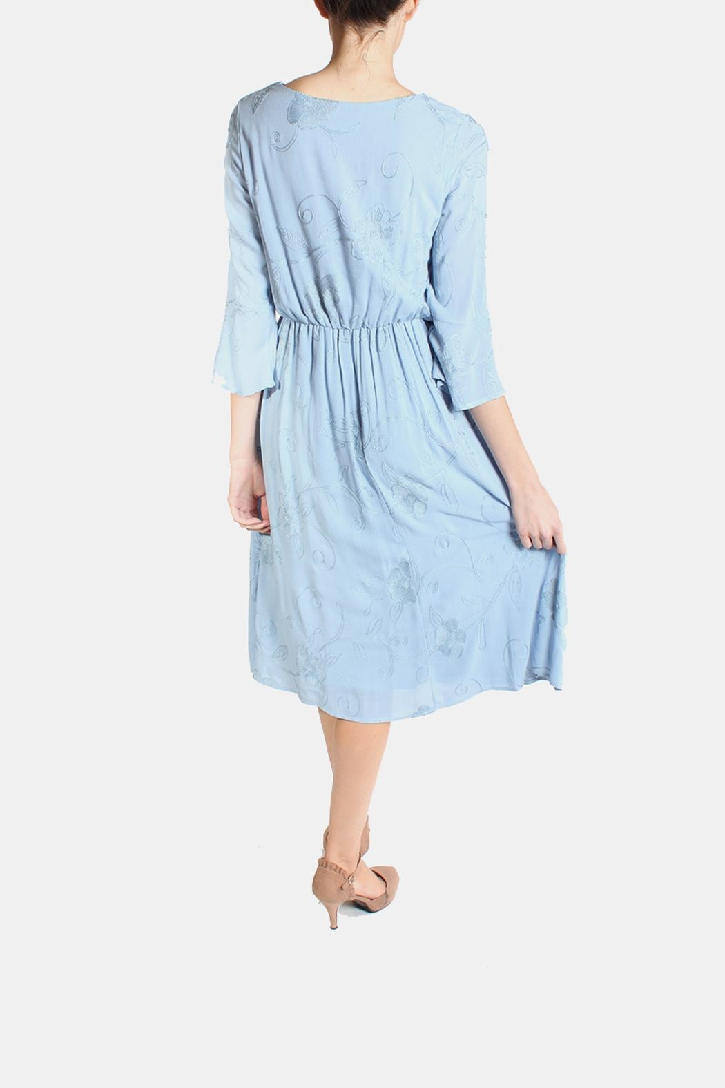 Le Lis Dreamy Blue Embroidered Dress - Back Cropped Image