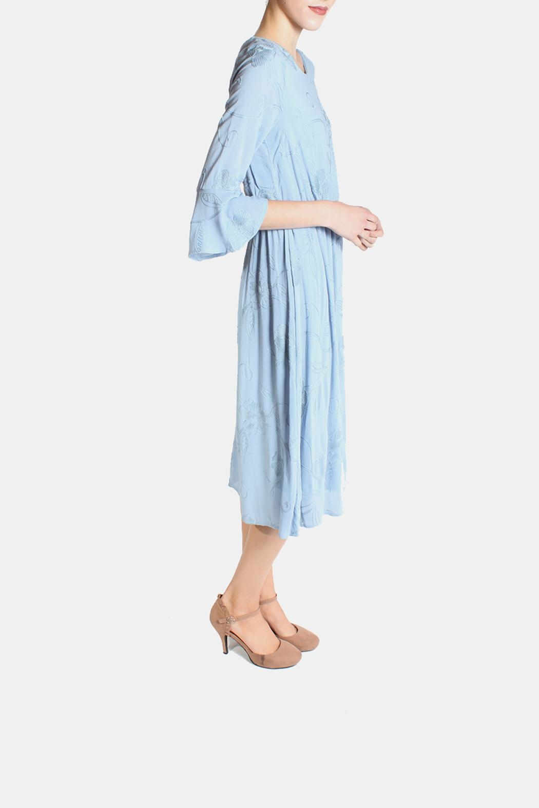 Le Lis Dreamy Blue Embroidered Dress - Front Full Image