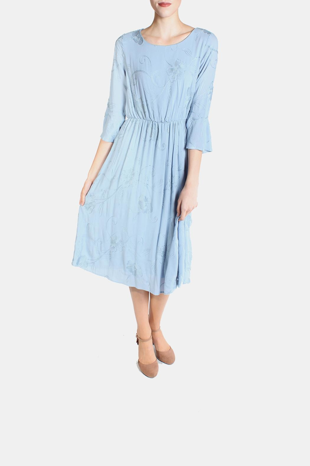 Le Lis Dreamy Blue Embroidered Dress - Main Image