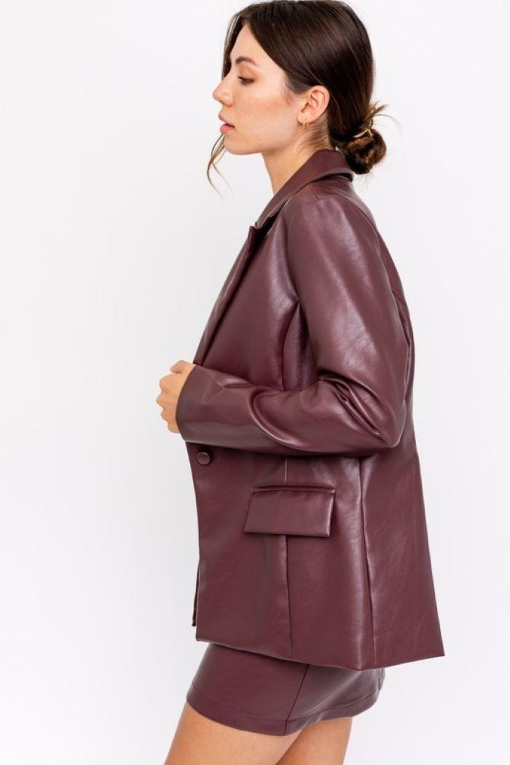 Le Lis Faux Leather One Button Blazer - Back Cropped Image