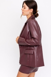 Le Lis Faux Leather One Button Blazer - Back cropped