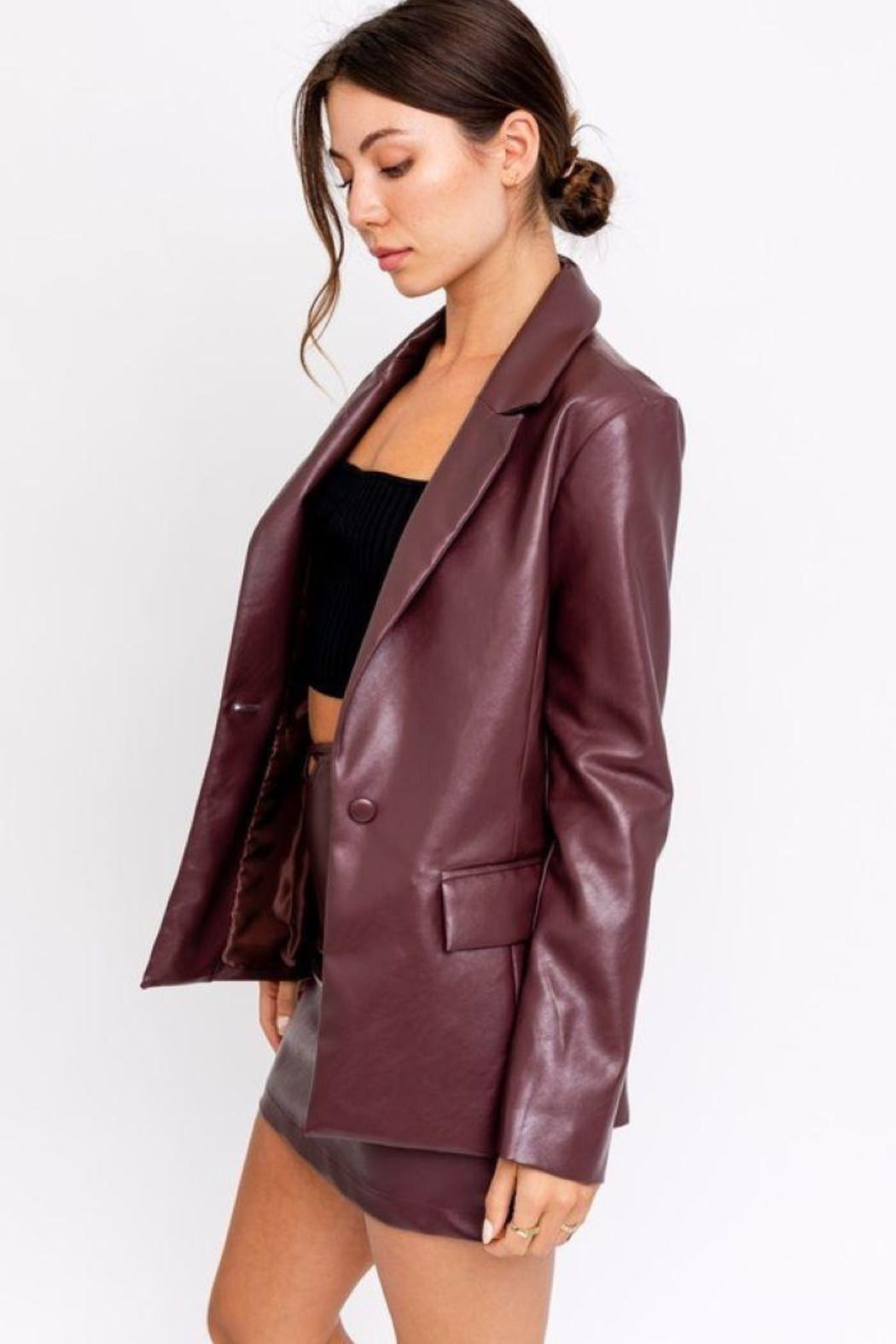 Le Lis Faux Leather One Button Blazer - Front Full Image