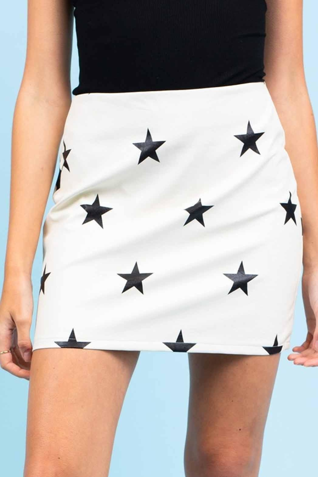 Le Lis Faux-Leather Star Skirt - Front Full Image