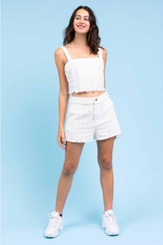 Le Lis Frayed Eyelet Shorts - Front full body