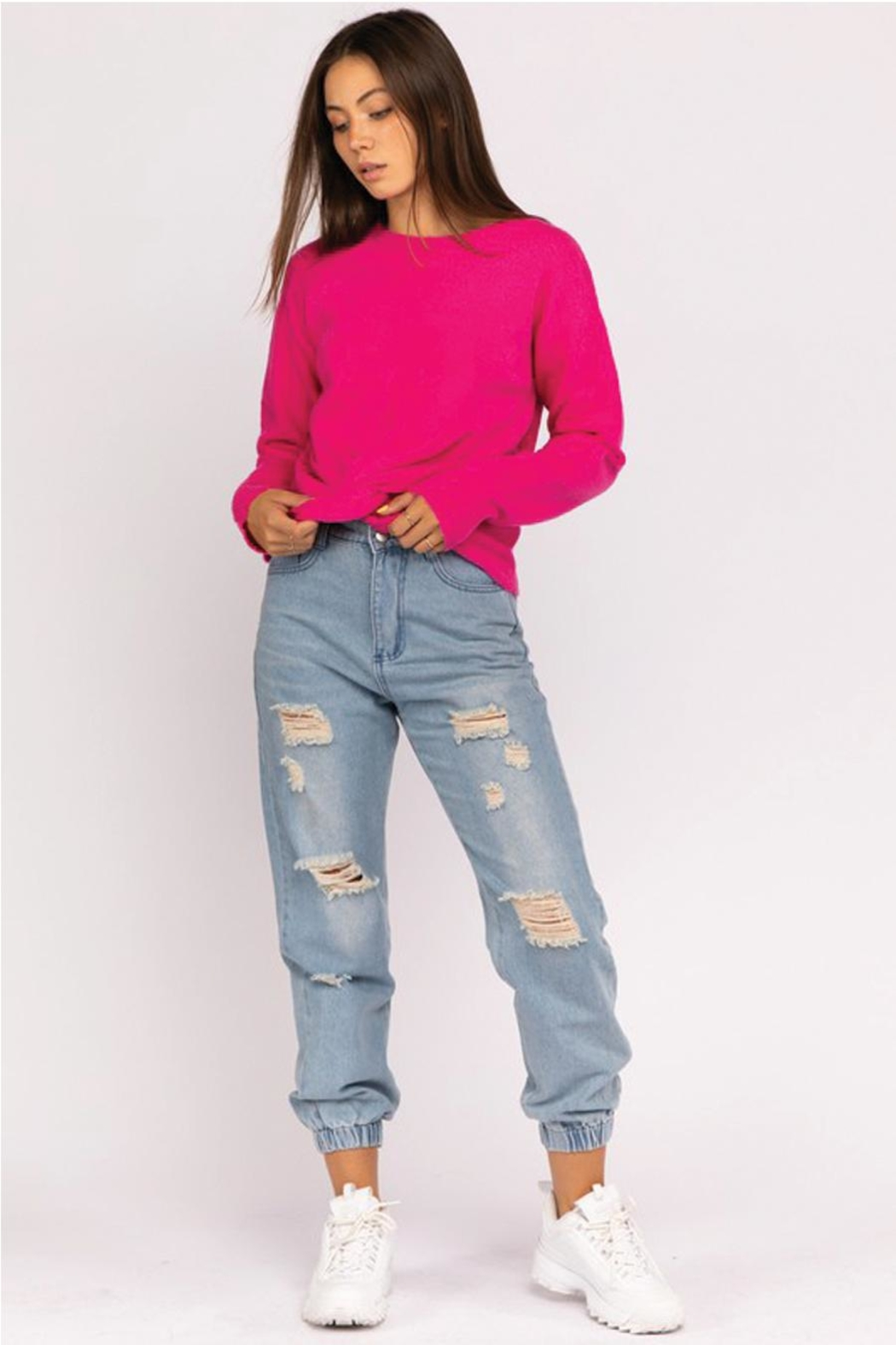 Le Lis Front Twist Sweater - Back Cropped Image