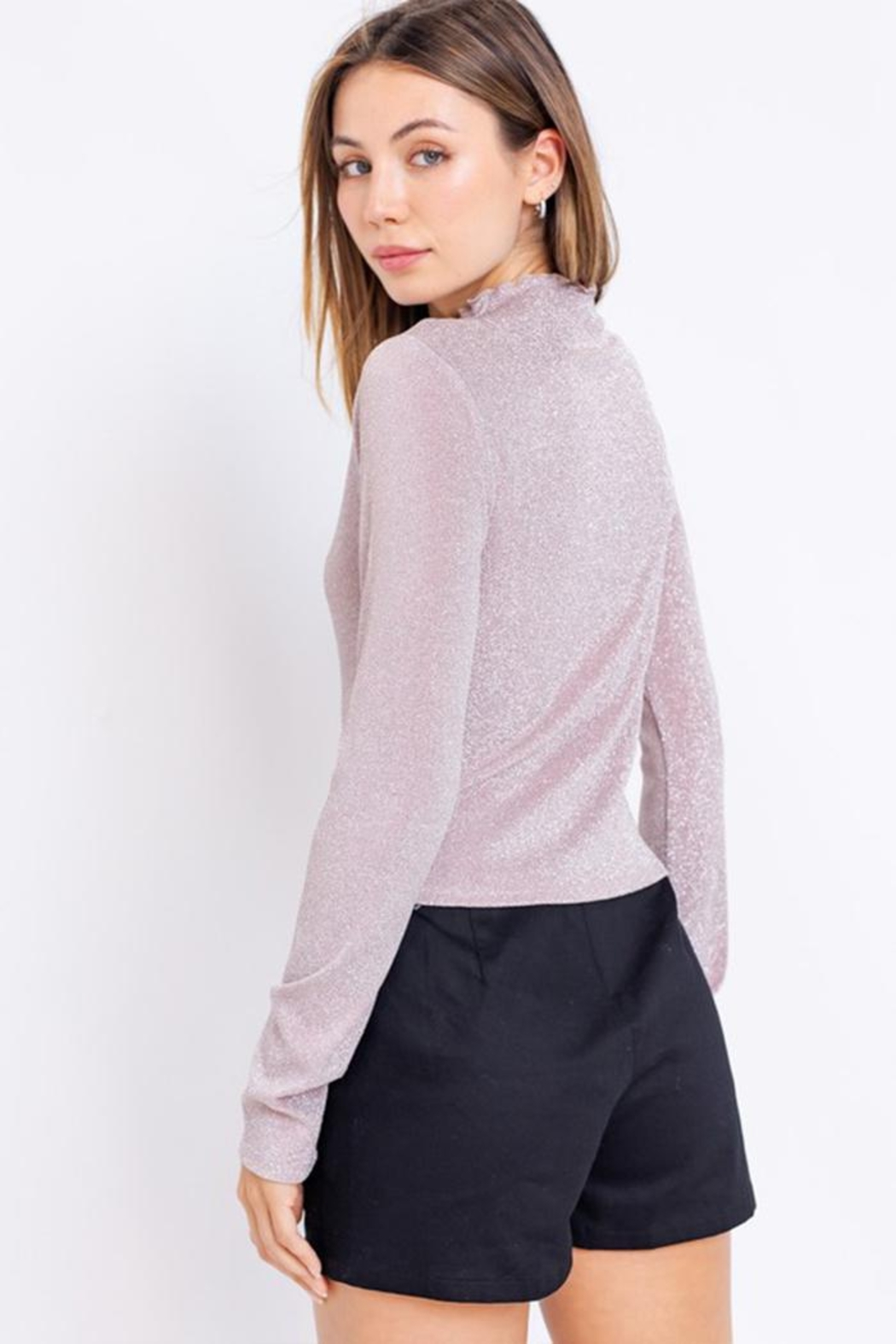 Le Lis Glitter Mock-Neck Top - Back Cropped Image