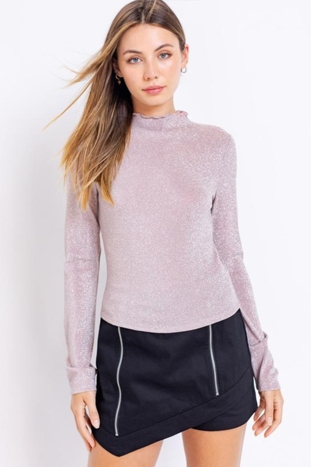 Le Lis Glitter Mock-Neck Top - Side Cropped Image