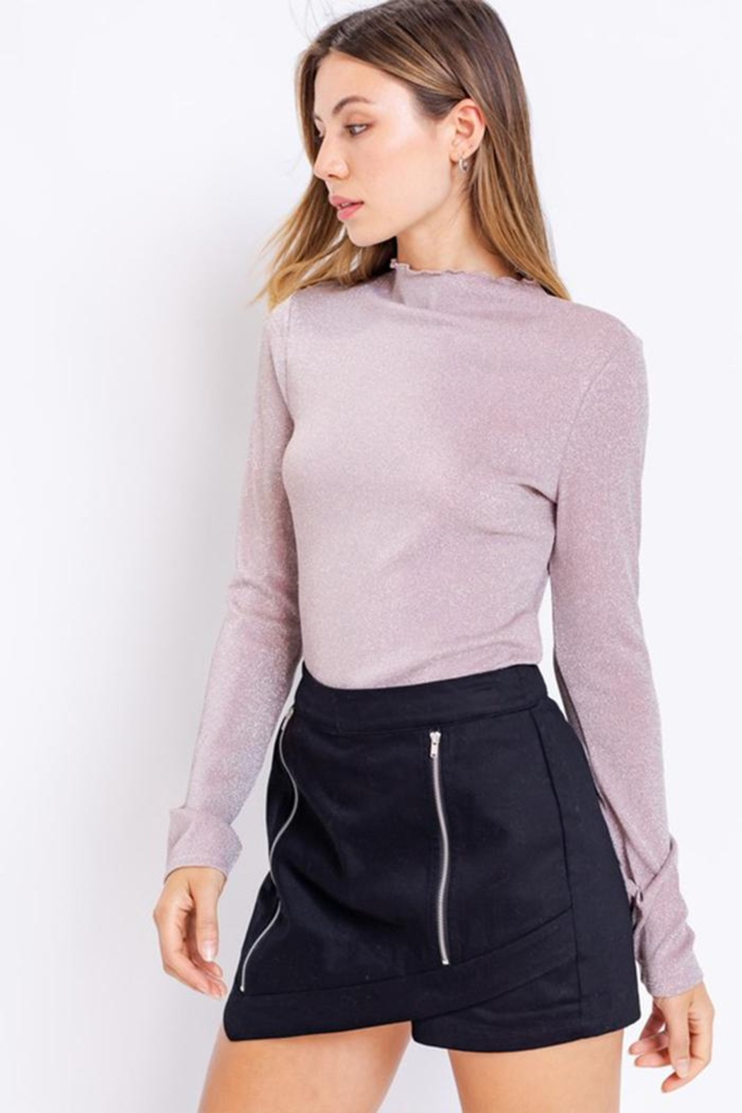 Le Lis Glitter Mock-Neck Top - Front Full Image