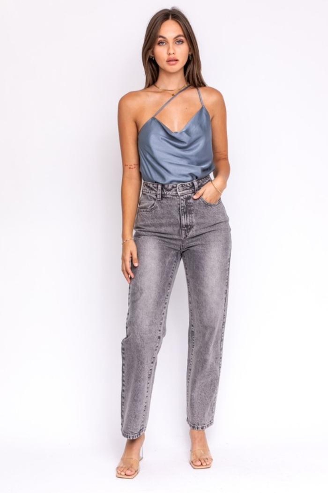 Le Lis Grey Satin Top - Front Full Image