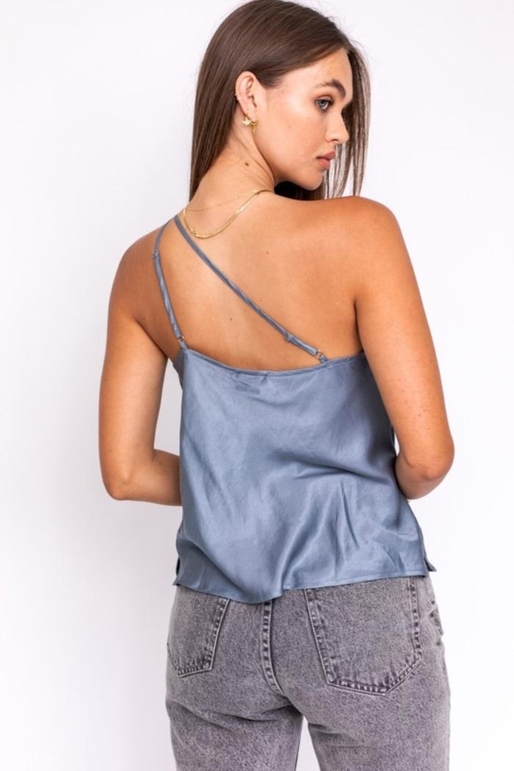 Le Lis Grey Satin Top - Side Cropped Image