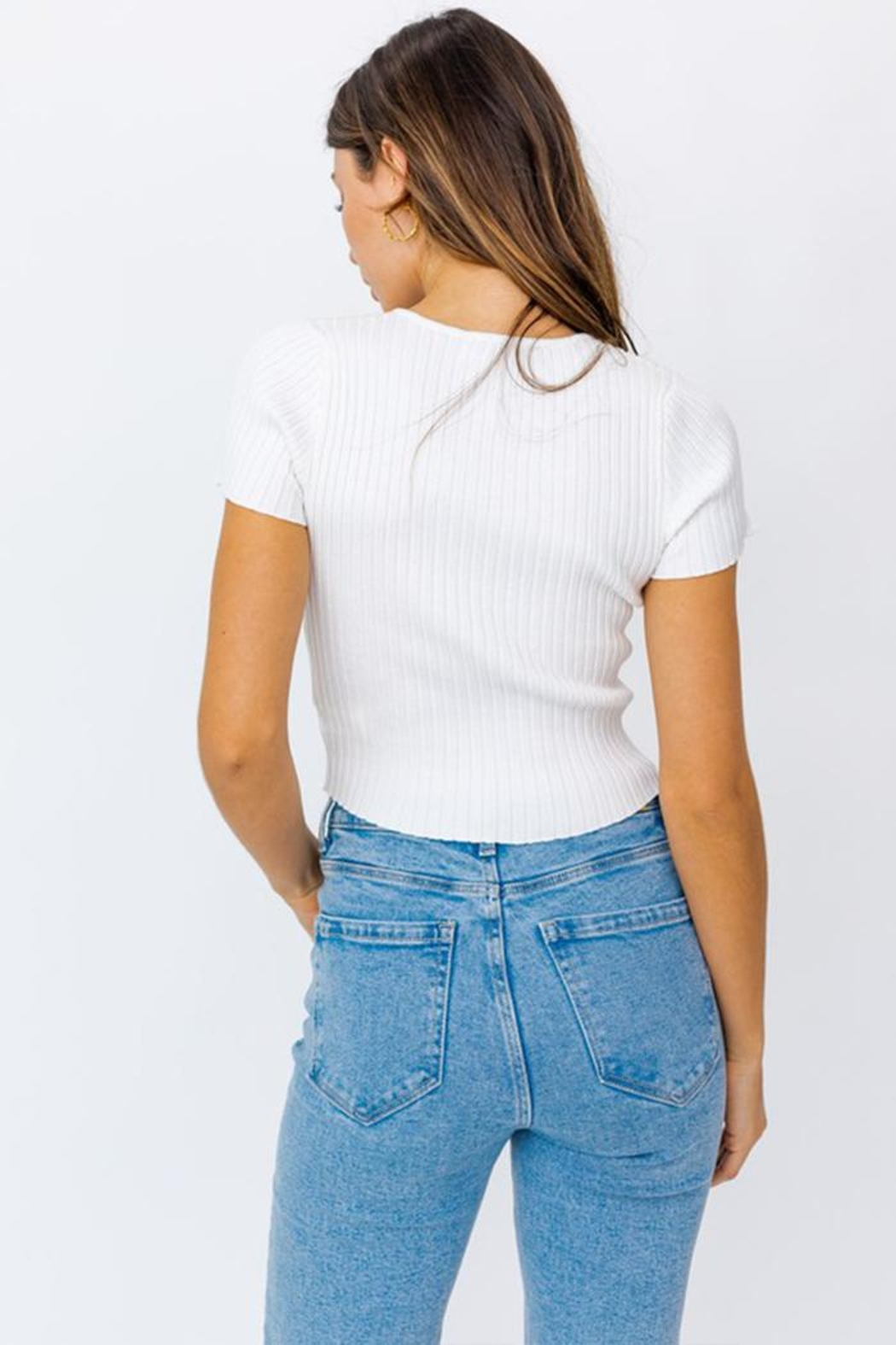Le Lis Keyhole Ribbed Top - Back Cropped Image