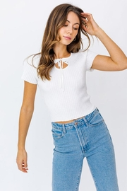 Le Lis Keyhole Ribbed Top - Product Mini Image