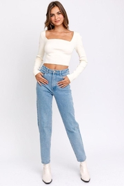 Le Lis Long Sleeve Criss Cross Back Knit Top - Front full body