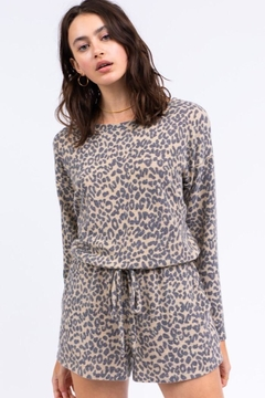 Le Lis Long Sleeve Romper With Drawstring And Keyhole - Product List Image