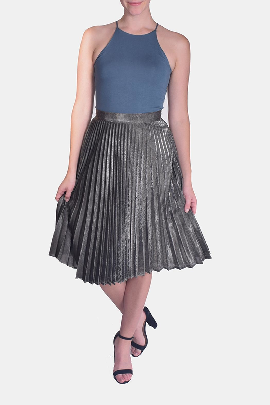 Le Lis Metallic Pleated Skirt - Front Cropped Image