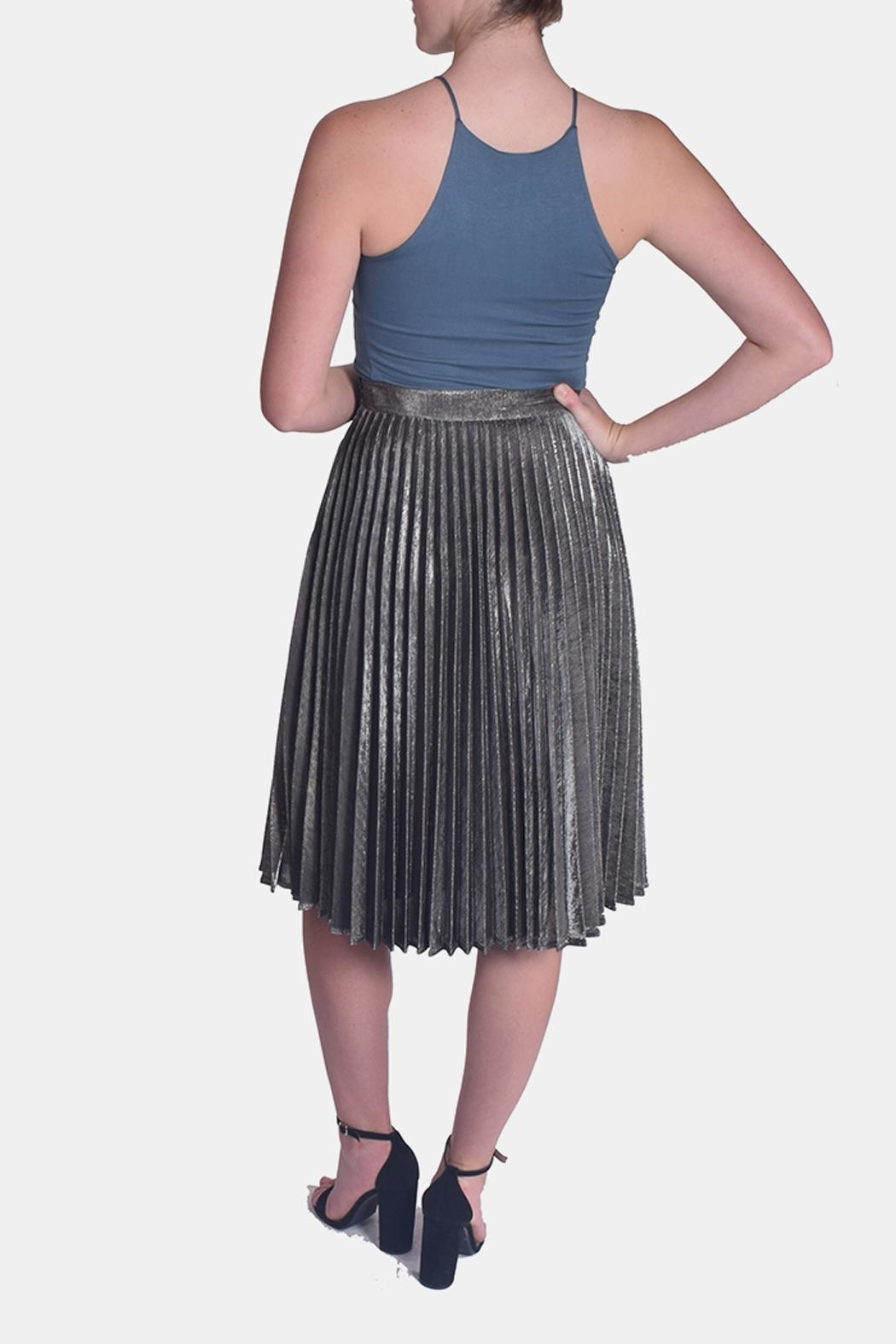 Le Lis Metallic Pleated Skirt - Back Cropped Image