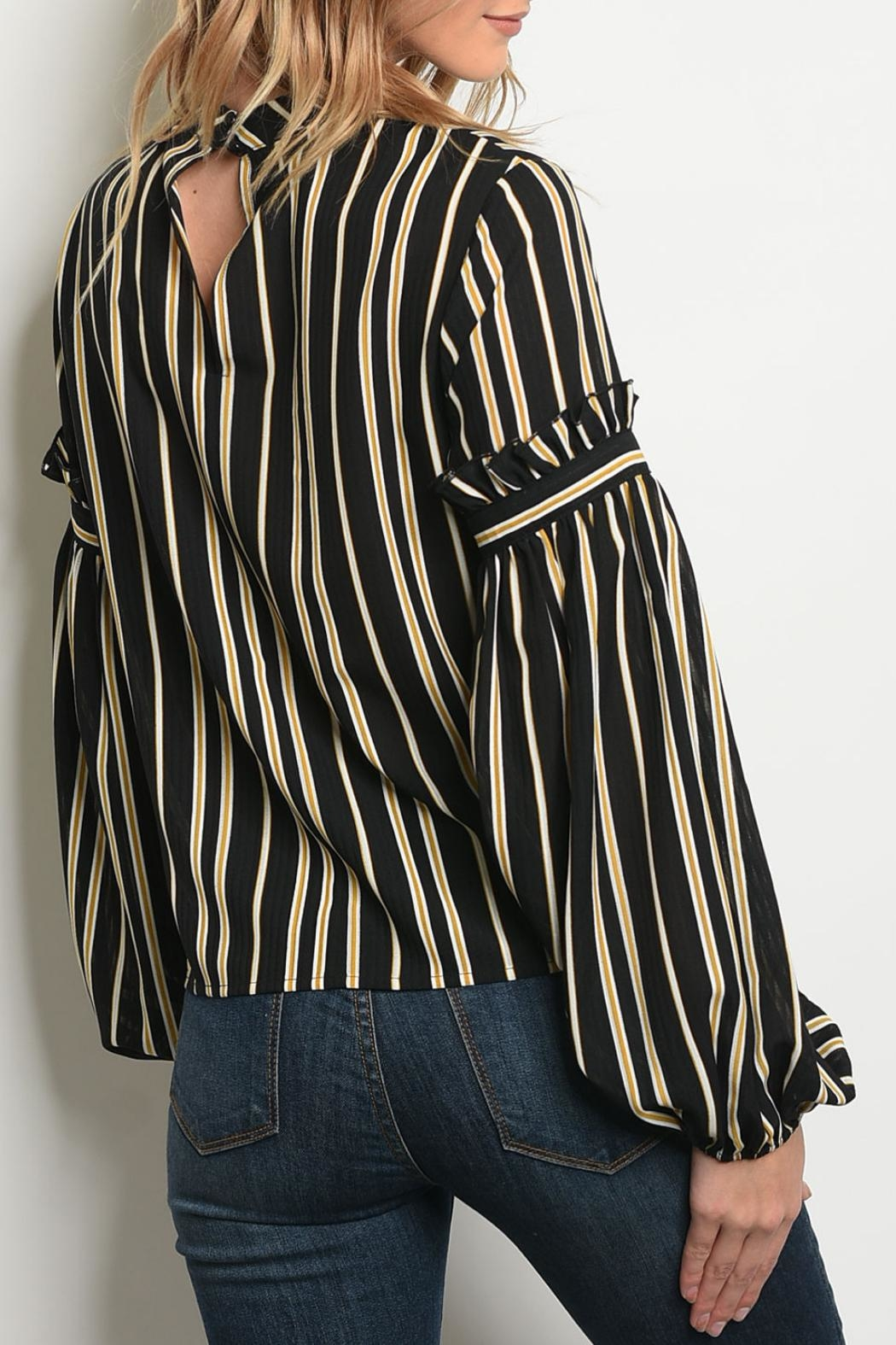 Le Lis Mustard Striped Top - Front Full Image