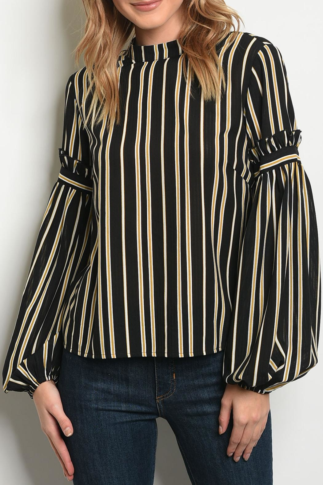 Le Lis Mustard Striped Top - Main Image