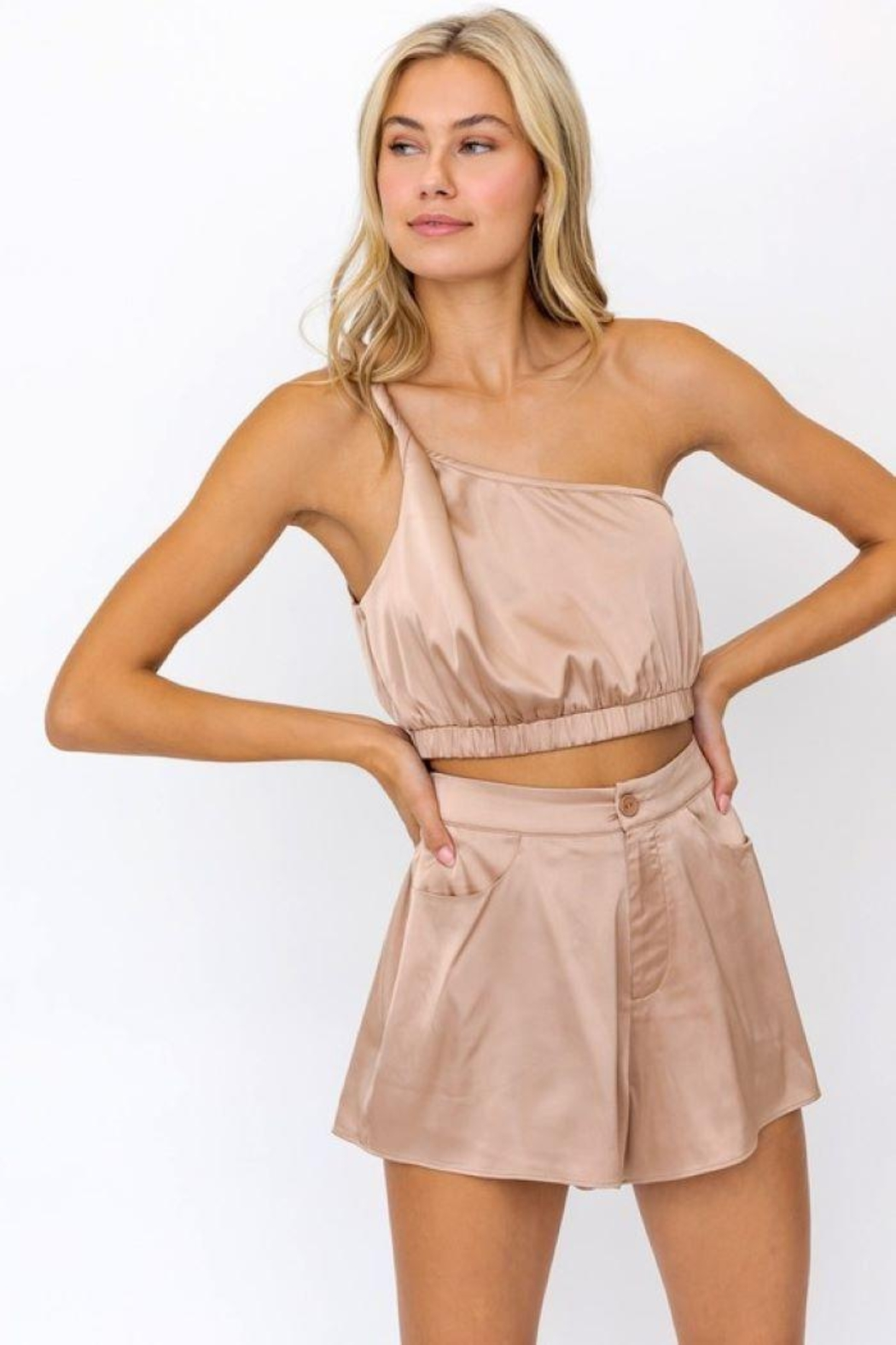 Le Lis One Shoulder Twisted Strap  Top - Main Image
