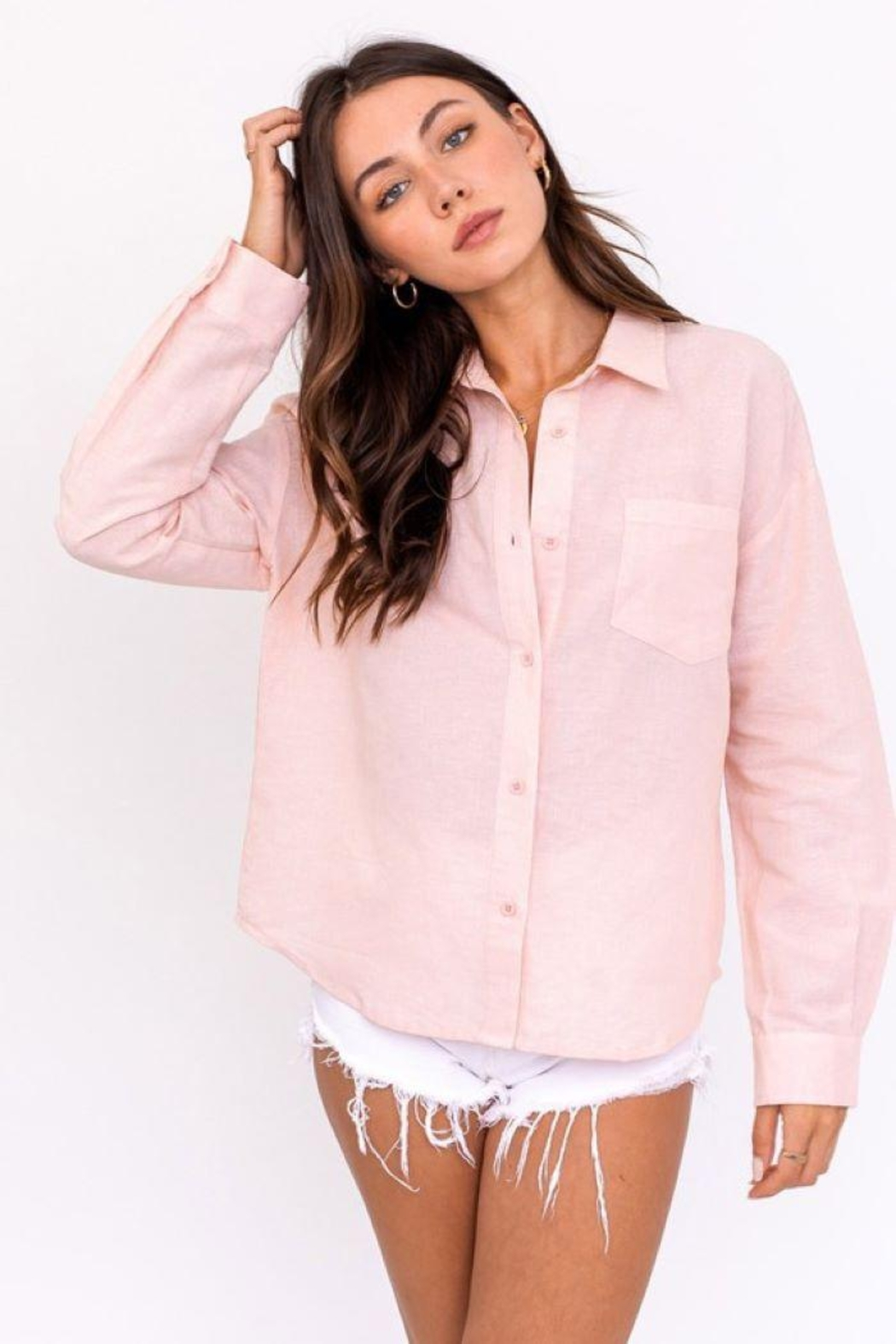 Le Lis Oversized Shirt Top - Front Full Image