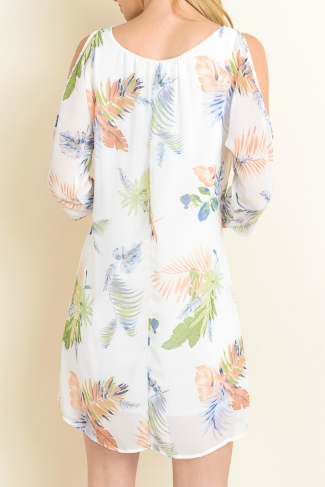 Le Lis Palm Print Dress - Front Full Image
