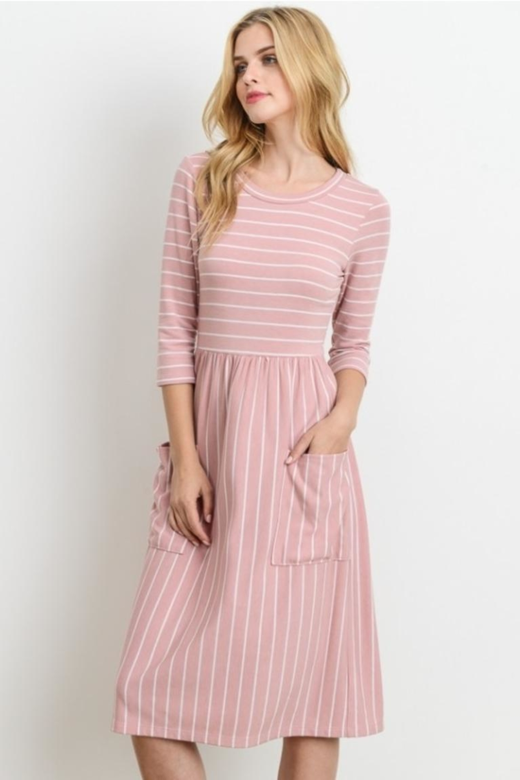 Le Lis Pink Striped Dress - Front Full Image