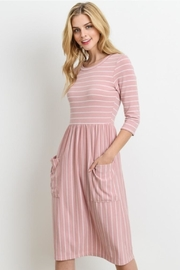 Le Lis Pink Striped Dress - Front cropped