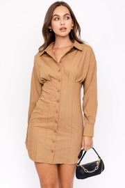 Le Lis Pleated Mini Shirt Dress - Front cropped