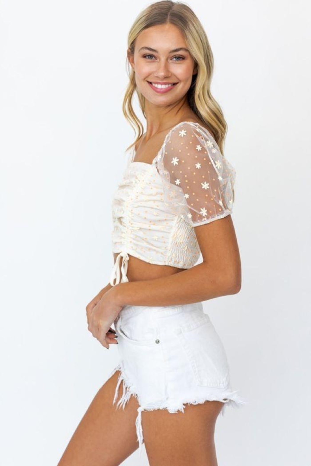 Le Lis Puff Sleeve Mesh Ruching Top - Front Full Image