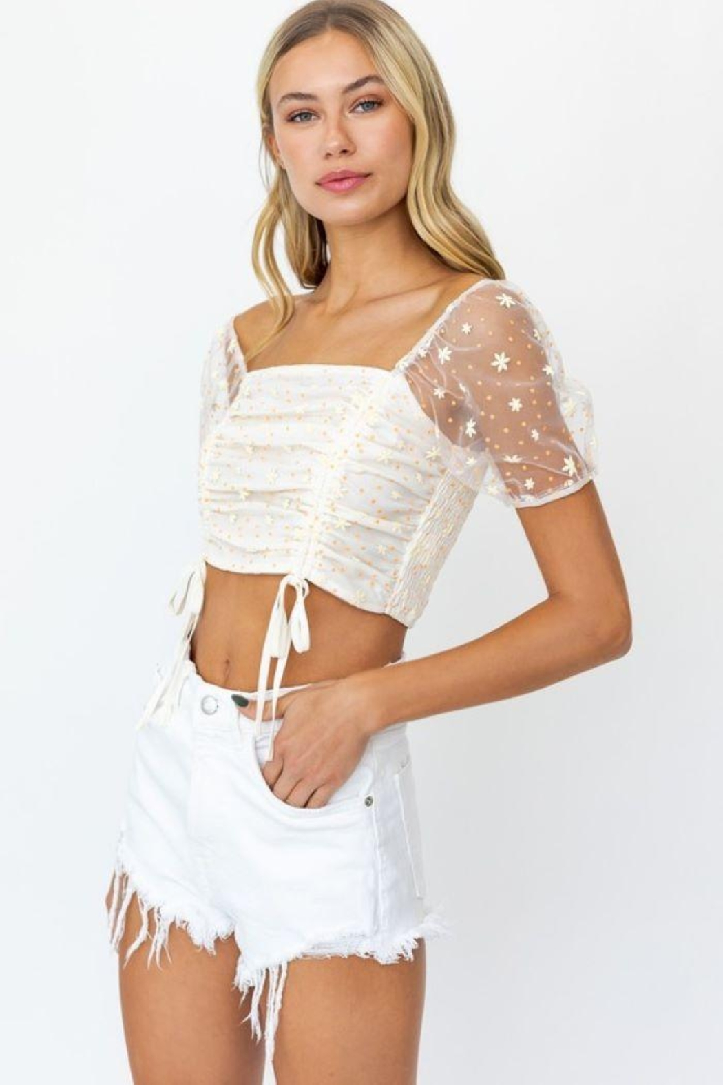 Le Lis Puff Sleeve Mesh Ruching Top - Side Cropped Image