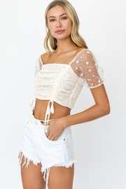 Le Lis Puff Sleeve Mesh Ruching Top - Side cropped