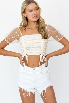 Shoptiques Product: Puff Sleeve Mesh Ruching Top