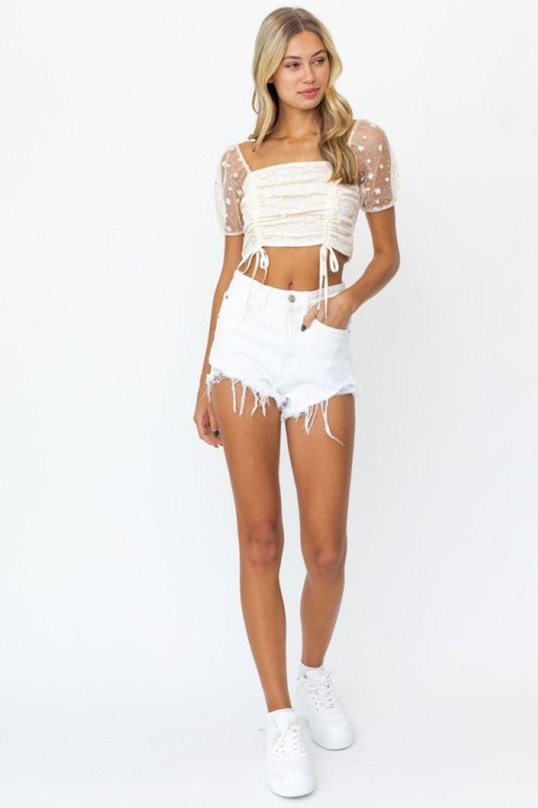 Le Lis Puff Sleeve Mesh Ruching Top - Back Cropped Image