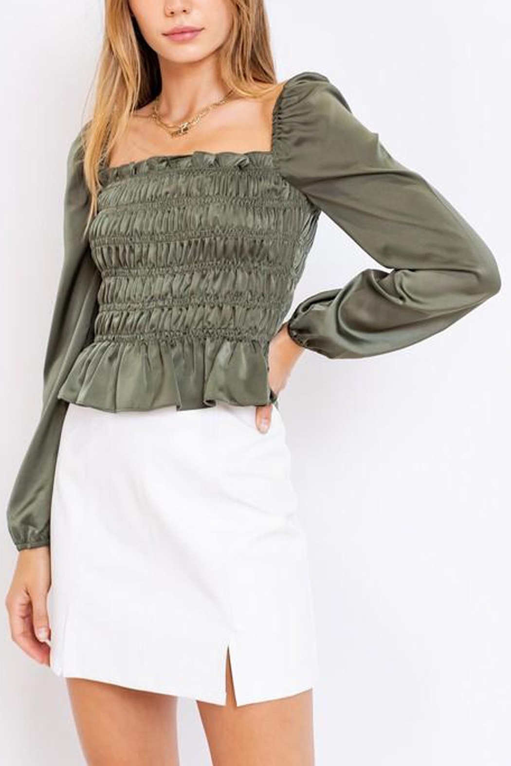 Le Lis Puff-Sleeve Square-Neck Top - Main Image