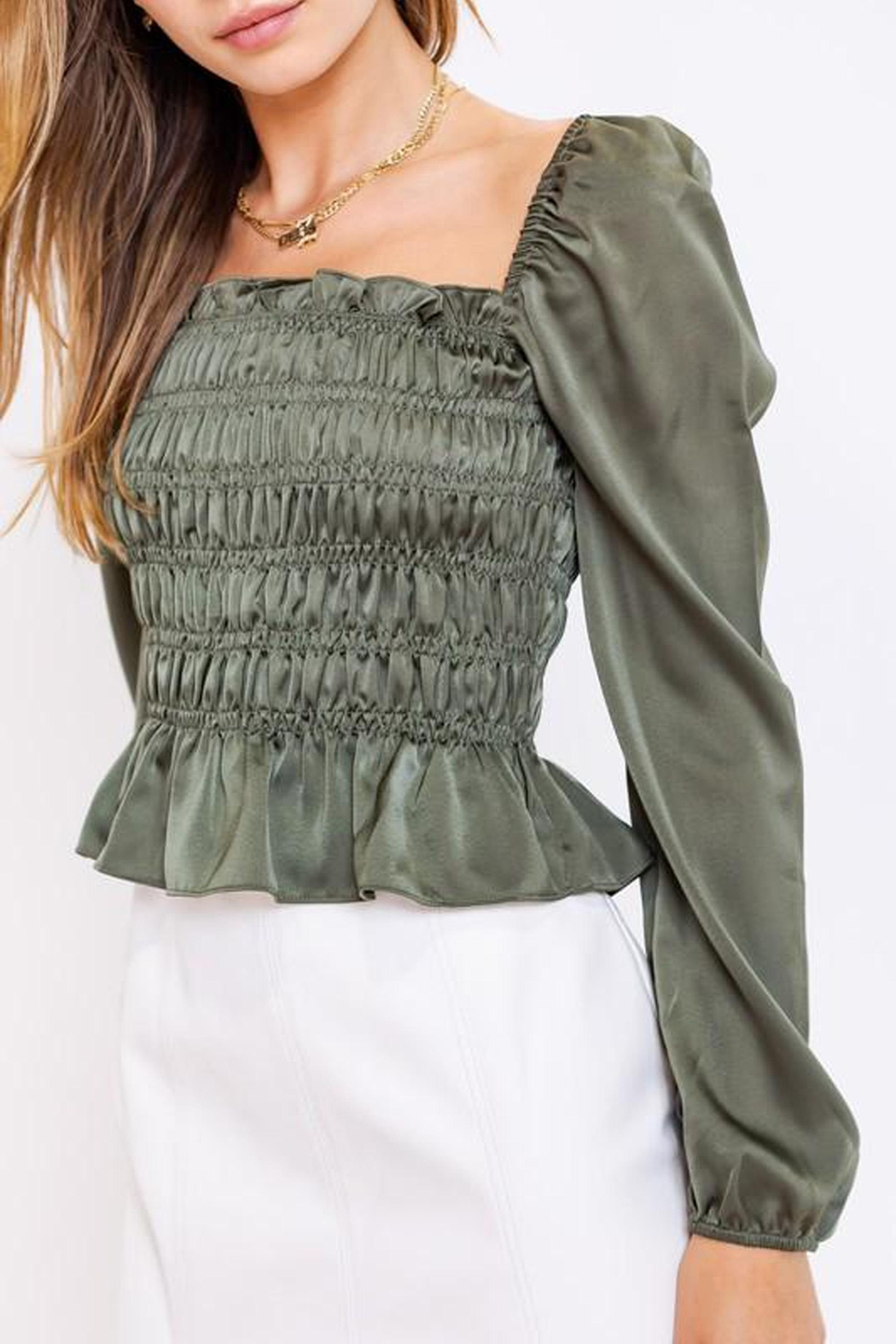 Le Lis Puff-Sleeve Square-Neck Top - Side Cropped Image