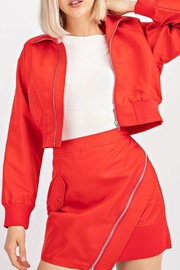 Le Lis Red Cropped Bomber - Front full body