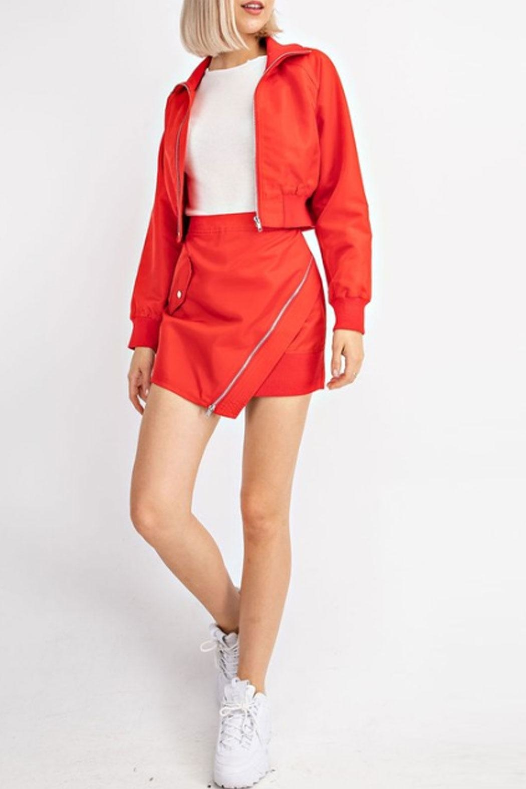 Le Lis Red Cropped Bomber - Side Cropped Image