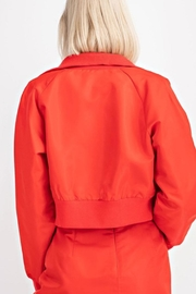 Le Lis Red Cropped Bomber - Back cropped
