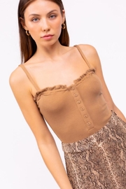 Le Lis Ribbed Button Down Bodysuit - Front full body