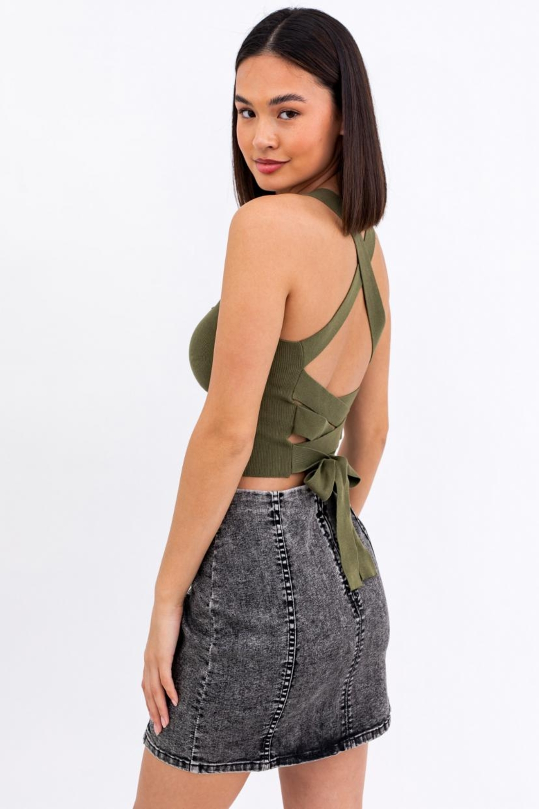 Le Lis Ribbed Crop Cami - Front Full Image
